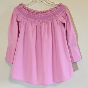Carlisle Smocked Blouse Open Shoulder Stretch Lily